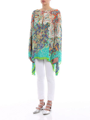 Etro: blouses online - Bell sleeved Paisley crepe blouse