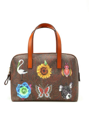 Etro: bowling bags - Funny painting Paisley bowling bag