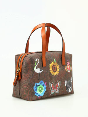 Etro: bowling bags online - Funny painting Paisley bowling bag