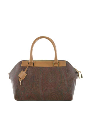 Etro: bowling bags - Paisley coated fabric bowling bag