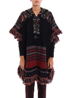 Etro: Capes &  Ponchos online - Fringed knit wool blend cape