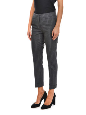 Etro: casual trousers online - Pinstripe cotton trousers
