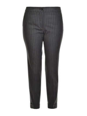 Etro: casual trousers - Pinstripe cotton trousers