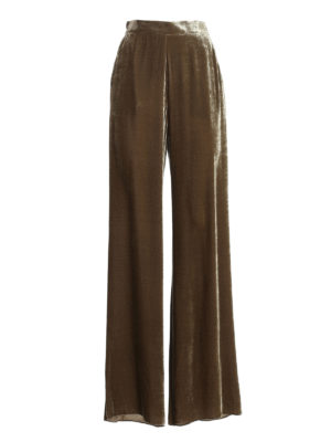 ETRO: casual trousers - Velvet palazzo trousers