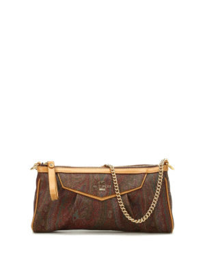 Etro: clutches - Chain handle paisley clutch
