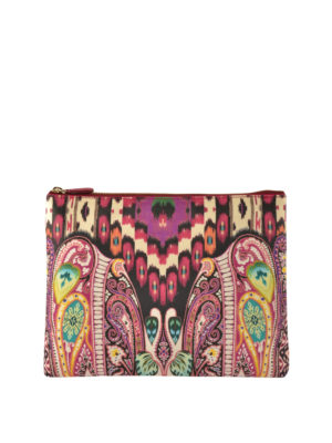 Etro: clutches - Tribal and paisley jacquard clutch