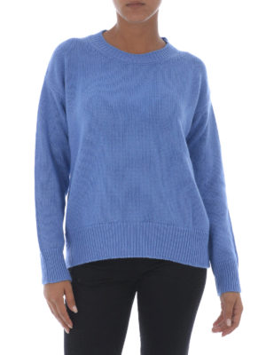Etro: crew necks online - Wool and cashmere blue crewneck