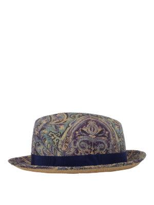 Etro: hats & caps - Paisley print panama hat