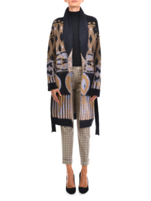 Etro: knee length coats online - Wool blend graphic print coat