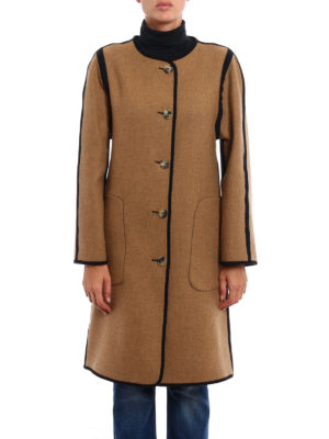 Etro: knee length coats online - Wool cloth reversible coat