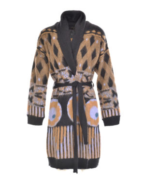 Etro: knee length coats - Wool blend graphic print coat