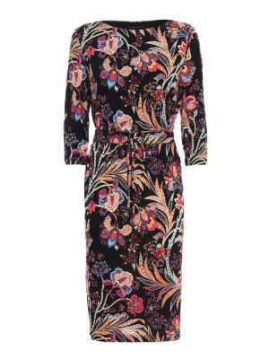 Etro: knee length dresses - Flower print jersey shift dress