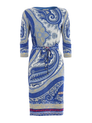 Etro: knee length dresses - Macro Paisley jersey shift dress