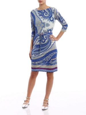 Etro: knee length dresses online - Macro Paisley jersey shift dress