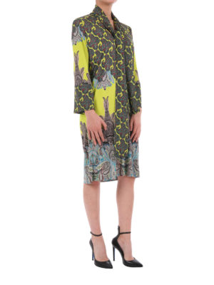 Etro: knee length dresses online - Paisley print silk dress