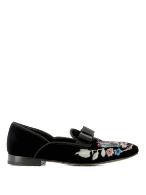 Etro: Loafers & Slippers - Embroidered slip-ons with bow