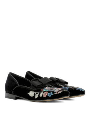 Etro: Loafers & Slippers online - Embroidered slip-ons with bow