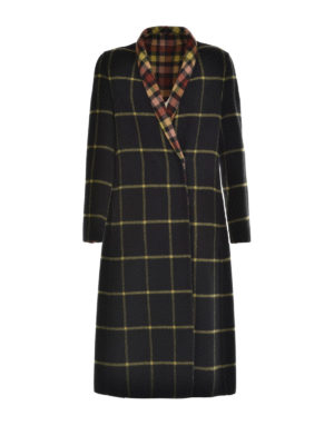 Etro: long coats - Check wool coat