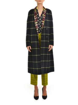 Etro: long coats online - Check wool coat