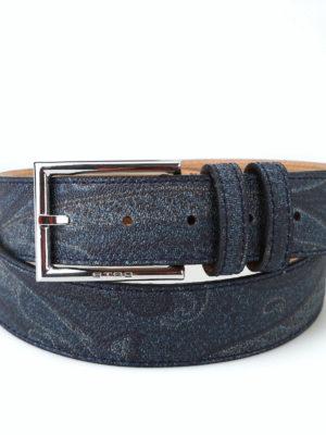 ETRO: cinture online - Cintura in tessuto paisley blu scuro