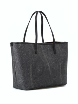 ETRO: shopper online - Shopper impermeabile Paisley nero