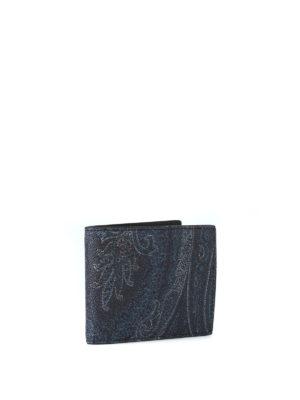ETRO: portafogli online - Portafoglio blu scuro in tessuto paisley