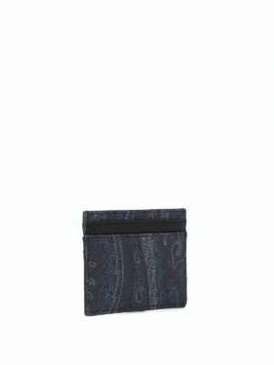 ETRO: portafogli online - Portacarte blu scuro in tessuto paisley