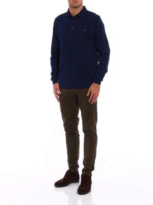 Etro: polo shirts online - Cotton pique long sleeved polo