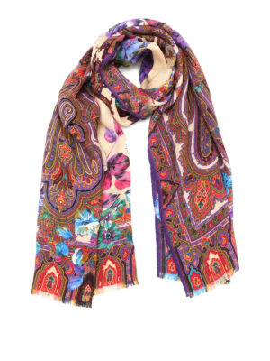 Etro: scarves - Dehly silk and wool scarf