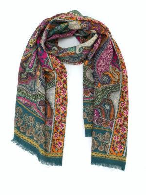 ETRO: sciarpe e foulard - Sciarpa Delhy in lana e seta jacquard Paisley