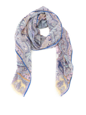 Etro: scarves - Delhy patterned wool and silk scarf