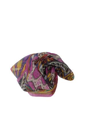 Etro: scarves - Ethnic print linen blend scarf