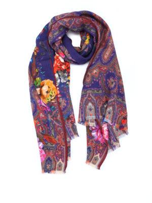 Etro: scarves - Floral silk wool scarf