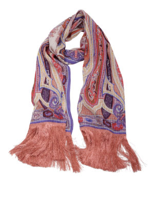 Etro: scarves - Fringed silk scarf