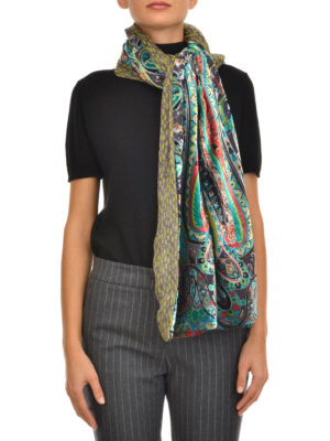 Etro: scarves online - Double face printed silk scarf