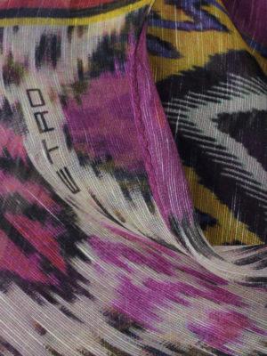 Etro: scarves online - Ethnic print linen blend scarf