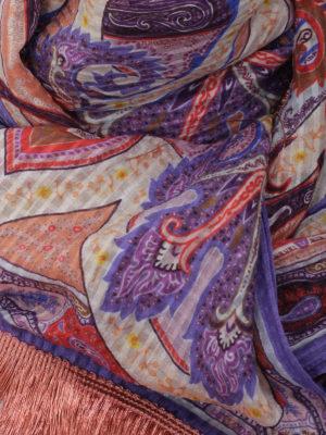 Etro: scarves online - Fringed silk scarf