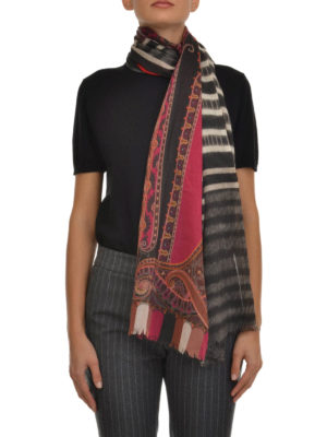 Etro: scarves online - Multiprint wool scarf