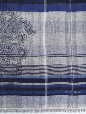 Etro: scarves online - Paisley pattern check scarf