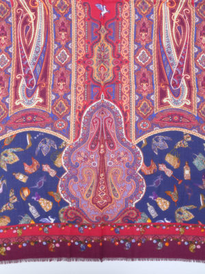 Etro: scarves online - Paisley print silk wool scarf
