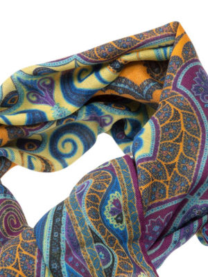 Etro: scarves online - Patterned wool and silk scarf