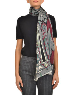 Etro: scarves online - Wool and silk Paisley pattern scarf