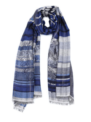 Etro: scarves - Paisley pattern check scarf