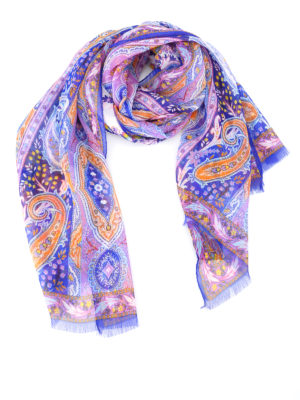 Etro: scarves - Paisley pattern silk scarf