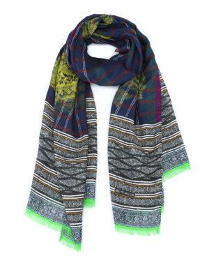 Etro: scarves - Paisley print check scarf