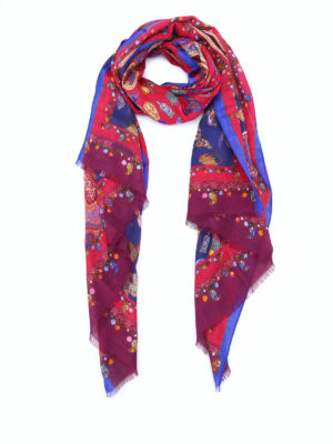 Etro: scarves - Paisley print silk wool scarf