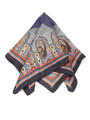 Etro: scarves - Paisley printed silk pocket square