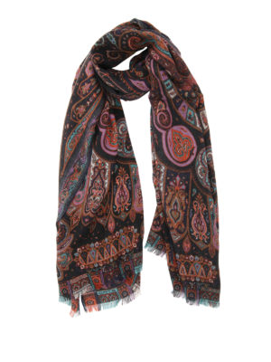 Etro: scarves - Paisley wool and silk scarf