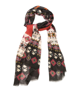 Etro: scarves - Patterned modal and cashmere scarf