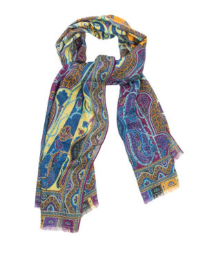 Etro: scarves - Patterned wool and silk scarf